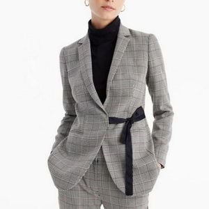 J CREW Grey / Red H2871 Glen Plaid Blazer size 16